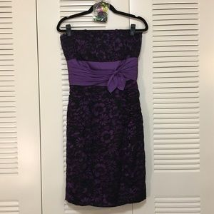 Betsey Johnson Crushed Velvet & Silk Evening Dress